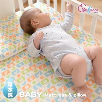Embrace英柏絲 可水洗 3D超透氣排汗嬰兒床墊+多功能平枕組(兩色)