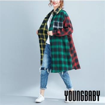 【YOUNGBABY中大碼】白綠黃紅四配色格紋大口袋長襯衫
