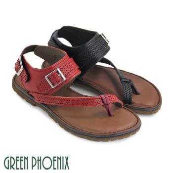 GREEN PHOENIX 抽繩金屬扣魔鬼氈全真皮平底繞踝夾腳套趾涼鞋U60-28018