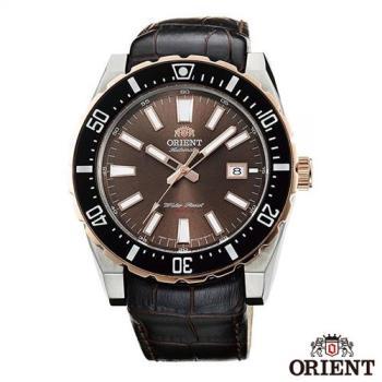 ORIENT東方錶  卓越不凡自動上鍊機械運動手錶-棕x46mm  FAC09002T0
