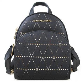 MICHAEL KORS ABBEY金字LOGO十字紋洞洞皮革三用後背包(黑金雙色)