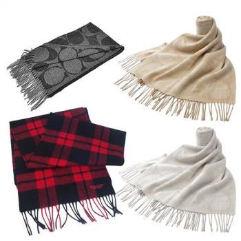 COACH經典羊毛流蘇長圍巾