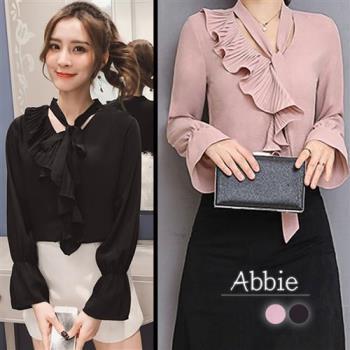 Abbie韓版時尚荷葉壓摺領上衣-,