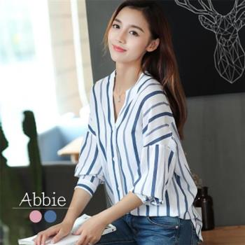 AbbieV領造型長袖條紋襯衫
