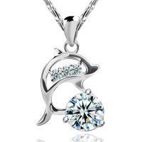 【I-Shine】海豚戀人-正白K-精緻海豚鑲鑽 閃耀水晶項鍊