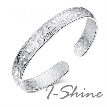 【I-Shine】925純銀-繁花似錦立體雕花開口手鐲手環(繁花似錦)