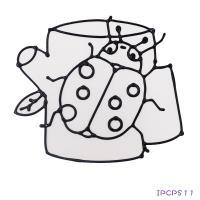 【愛玩色 館】 MIT兒童無毒彩繪玻璃貼- 小張圖卡 - 瓢蟲 ipcpS11 - 製
