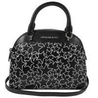 MICHAEL KORS 經典LOGO星星圖案皮革手提小巧兩用包.黑