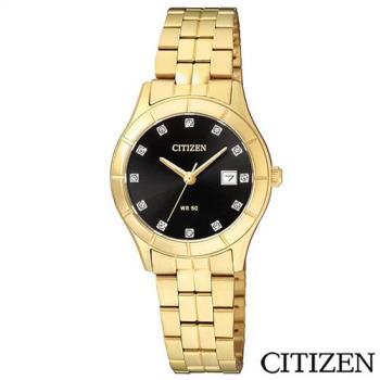 CITIZEN星辰 時尚金錶設計女性石英腕錶 EU6042-57E
