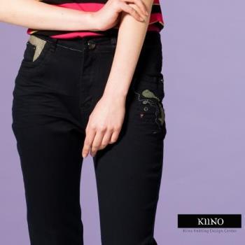 【KIINO】纖型設計微彈力直筒單寧牛仔褲-,