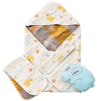 奇哥 快樂森林六層紗包巾禮盒(含包巾、小肚圍、小兔枕)