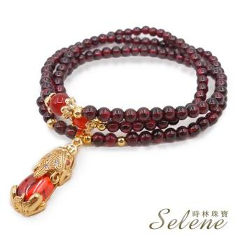 【Selene 珠寶】紅石榴石財到貔貅三圈手鍊(可當項鍊穿戴)