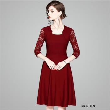 (現貨+預購 RN-girls)-[OL80378] 好搭精品OL蕾絲七分袖洋裝