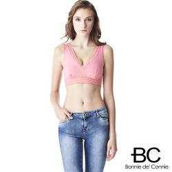 任-法國BC 手工蕾絲集中深V內衣-粉紅色