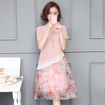 Jisen-甜美減齡假兩件洋裝
