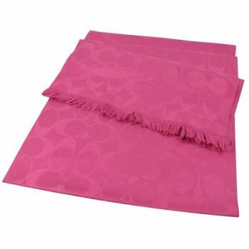 COACH 86011 經典LOGO圖案羊毛絲質披肩長圍巾.桃紅