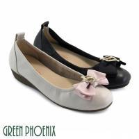 GREEN PHOENIX 雙層蝴蝶結水滴金屬壓克力水鑽全真皮小坡跟娃娃鞋U33-2A202