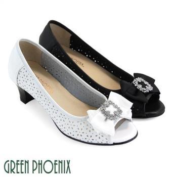 GREEN PHOENIX 緞面蝴蝶結方形水鑽花紋孔洞全真皮中跟魚口鞋U33-2A062