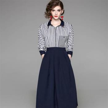 伊凡莎名媛時尚-法式獨特條紋襯衫+口袋褶裙