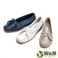 W&M 可水洗舒適柔軟蝴蝶結流蘇平底 女鞋(3色)-灰、米白、藍