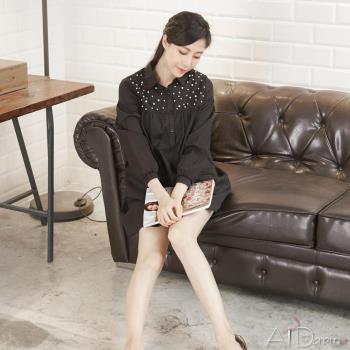 Abbie韓版半開襟珍珠襯衫洋裝(三色選一)