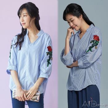 Abbie韓版新款V領玫瑰刺繡條紋襯衫