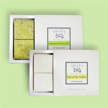 Tilley百年特莉 香氛植物皂4入禮盒x2款香味 (幸福百合+木蘭花綠茶)