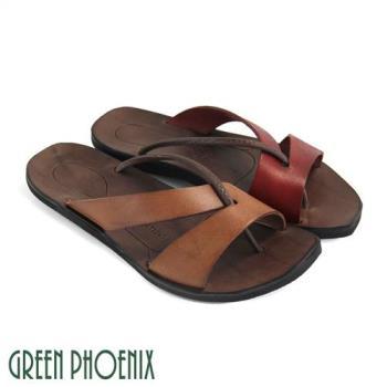 GREEN PHOENIX 鏤空線條全真皮平底夾腳拖鞋U9-21807