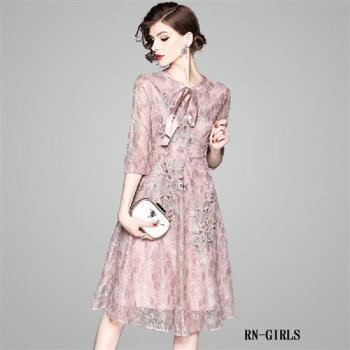 (現貨+預購 RN-girls)-【OL80366】名媛繡花五分袖蕾絲短袖洋裝