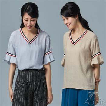 Abbie韓版新款撞色V領荷葉袖棉麻上衣