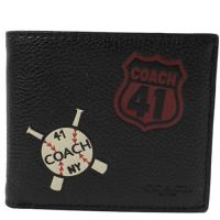 COACH 24655 棒球圖案全皮革附活動夾中短夾.黑