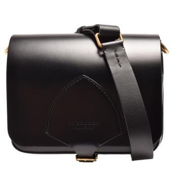 BURBERRY 經典The Satchel系列馬勒皮革方型肩/斜背包(黑)