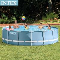 【INTEX】 圓型框架速搭大型游泳池 附濾水泵 457x107cm 14614L  6歲
