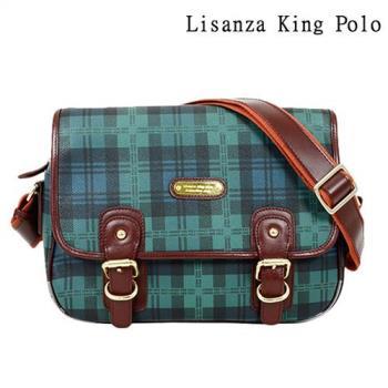 包包- Lisanza King Polo牛皮綠黑格包