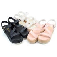 cher美鞋 MIT Z字形厚底魔鬼氈涼鞋-黑色/粉色/白色