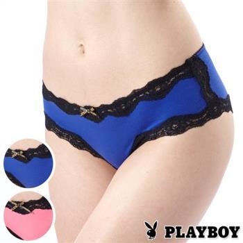 PLAYBOY內褲 花都魅影黑蕾絲三角褲