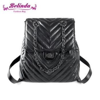 Belinda 後背包 菱格鍊條兩用後背包(黑色)