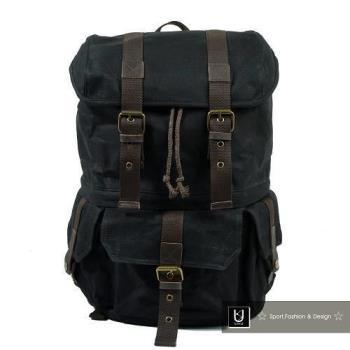 【US.STYLE】歐美自由行 蠟染帆布X瘋馬皮雙肩旅行後背包