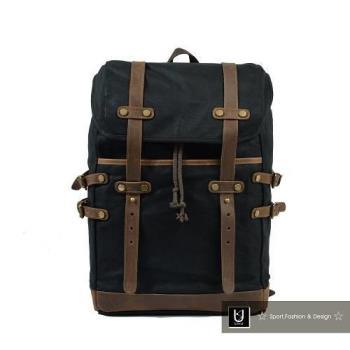 【US.STYLE】歐美自由行 蠟染帆布X瘋馬皮大容量旅行後背包