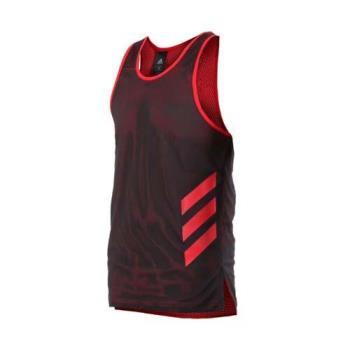 ADIDAS 男籃球背心-籃球 訓練 競賽 無袖上衣 愛迪達 黑紅