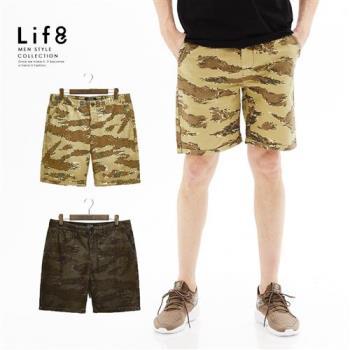 Life8-Casual 重磅挺棉 虎斑迷彩短褲