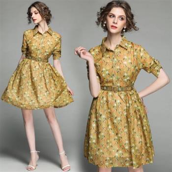 M2M 小鳥印花短袖襯衫連衣裙-M~XL