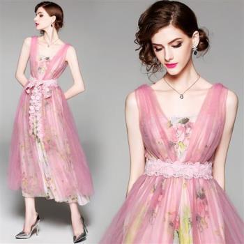 M2M   雪紡印花網紗罩衫綴蕾絲連身長裙-M~XL