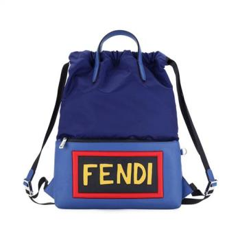 FENDI 經典字母LOGO 尼龍拼皮革 後背包 (藍)
