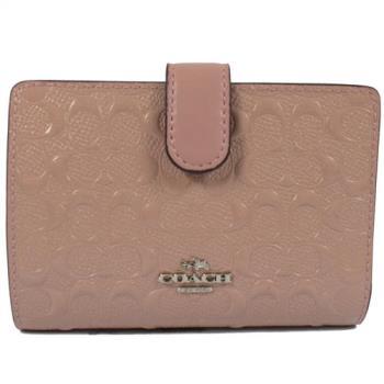 COACH 25937 馬車LOGO防刮漆皮扣式零錢中夾.粉紅