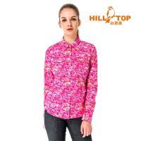【hilltop山頂鳥】女款吸濕排汗抗UV長袖襯衫S05F70-桃紅印花