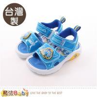魔法Baby 男童涼鞋 台灣製POLI正版波力款閃燈運動鞋 魔法Baby~sa81126