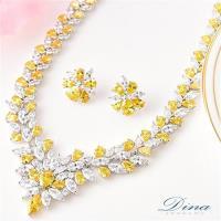 DINA JEWELRY蒂娜珠寶 皇家派對 CZ鑽項鍊耳環套組(HL97252)