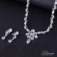 DINA JEWELRY蒂娜珠寶 花邊美人 CZ鑽項鍊耳環套組(HL96752)
