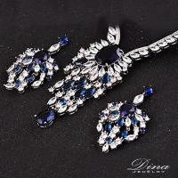 DINA JEWELRY蒂娜珠寶 極光世界 CZ鑽項鍊耳環套組(HL89413)